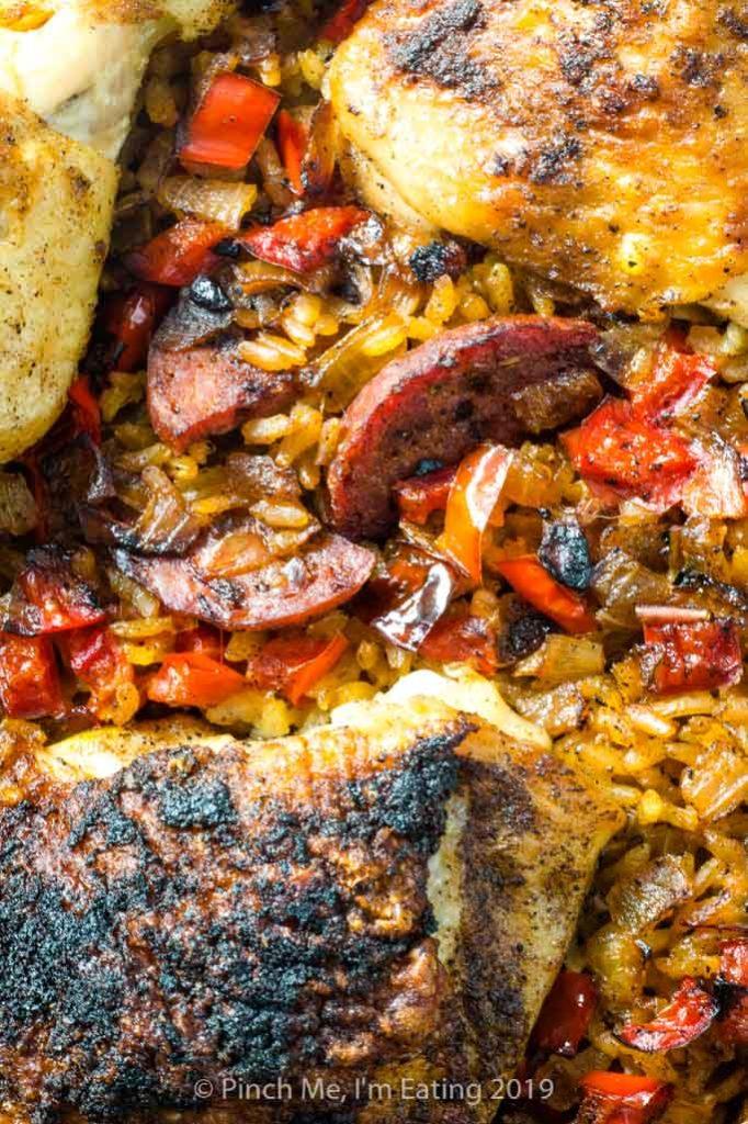 Closeup of Chicken and chorizo paella