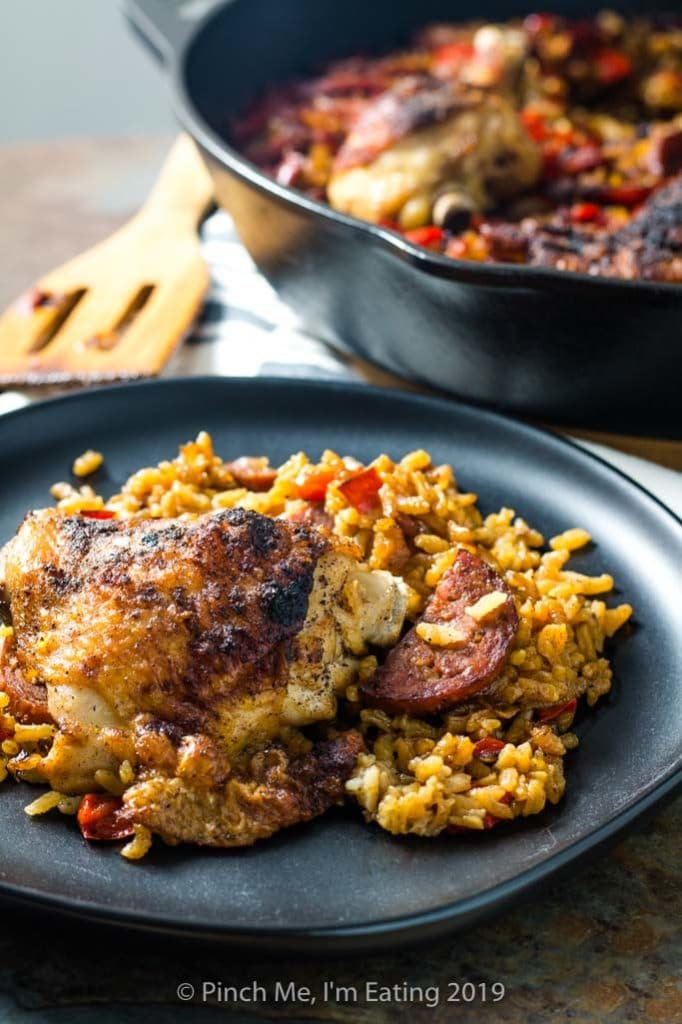 Chicken and chorizo paella served on a plate