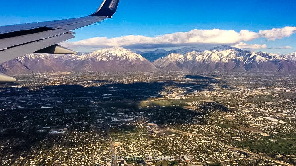 View of the Rocky mountains from an airplane