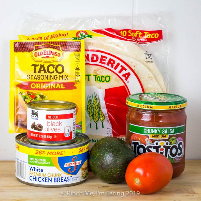 Hurricane chicken taco ingredients - food for a power outage