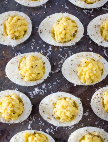 Overhead view of parmesan truffle deviled eggs
