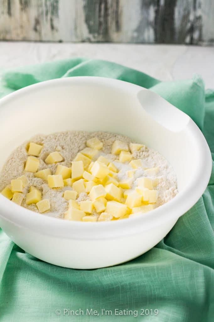 Cutting in butter for scone dough