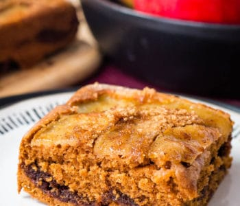 A slice of cinnamon spice apple coffee cake