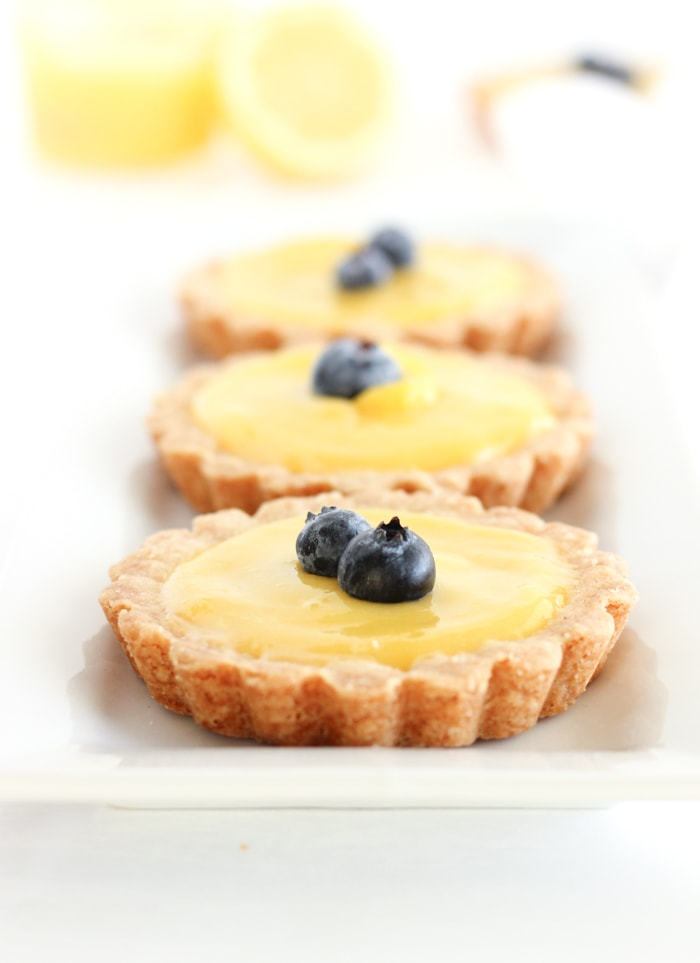 Mini Meyer Lemon Tarts with Shortbread Crust