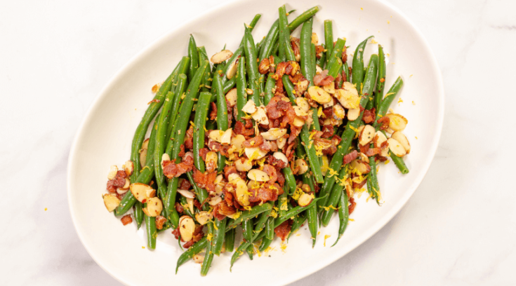 Easy Green Beans Almondine With Bacon