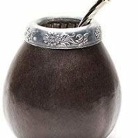 Handmade Natural Mate Gourd Set Including Bombilla (Yerba Mate Straw)