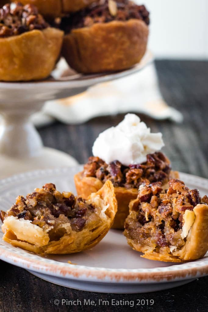 Gooey inside of mini pecan pie