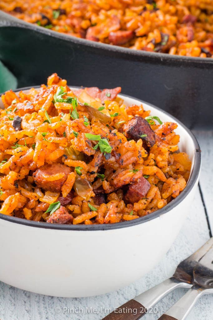 Closeup of Charleston red rice with sausage in a small bowl