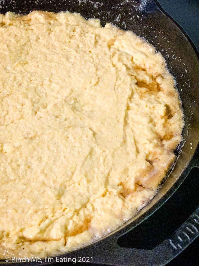 Southern buttermilk cornbread batter in a cast iron skillet