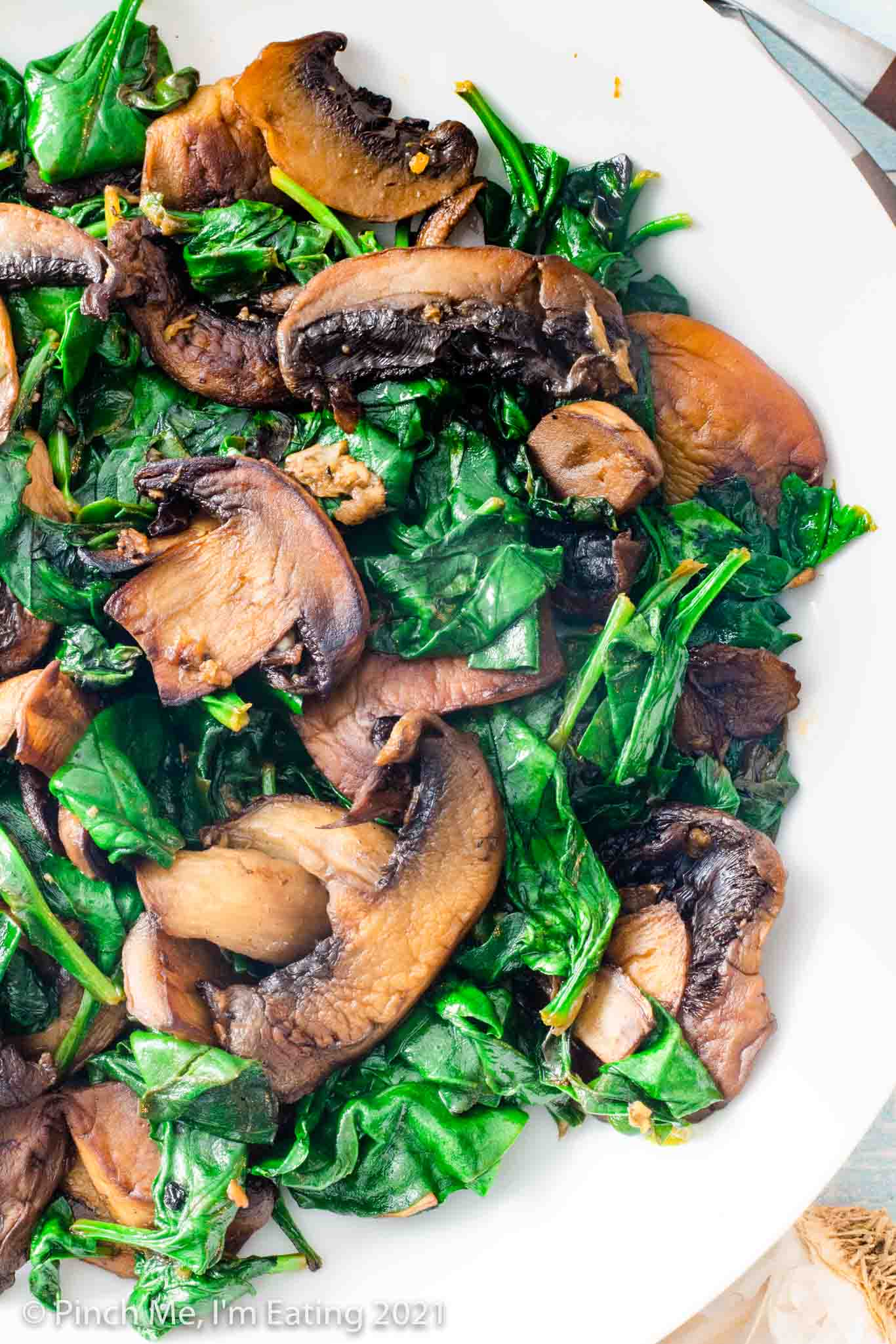 Sautéed Spinach and Mushrooms with Garlic