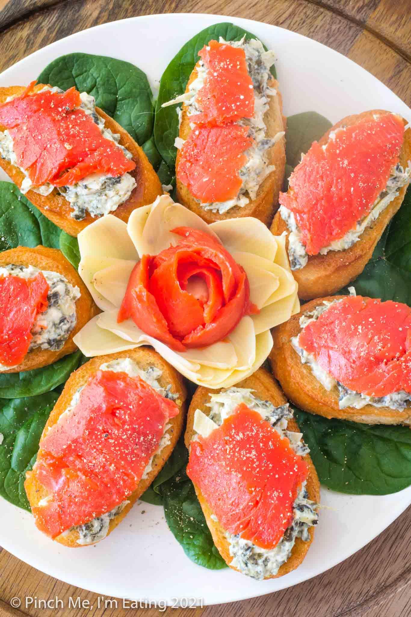 Spinach Artichoke Crostini with Smoked Salmon