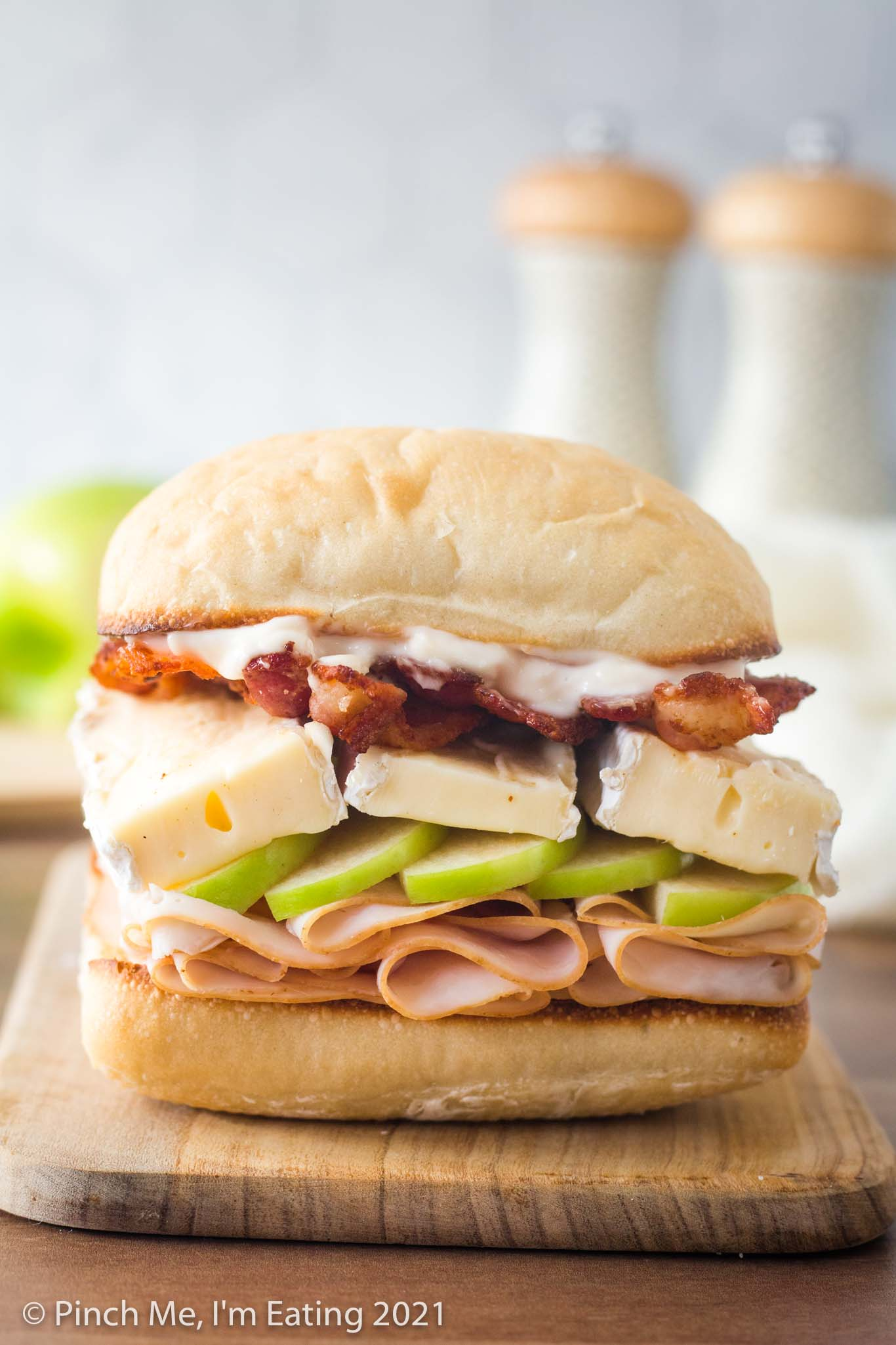 Smoked Turkey, Apple, and Brie Sandwich with Bacon