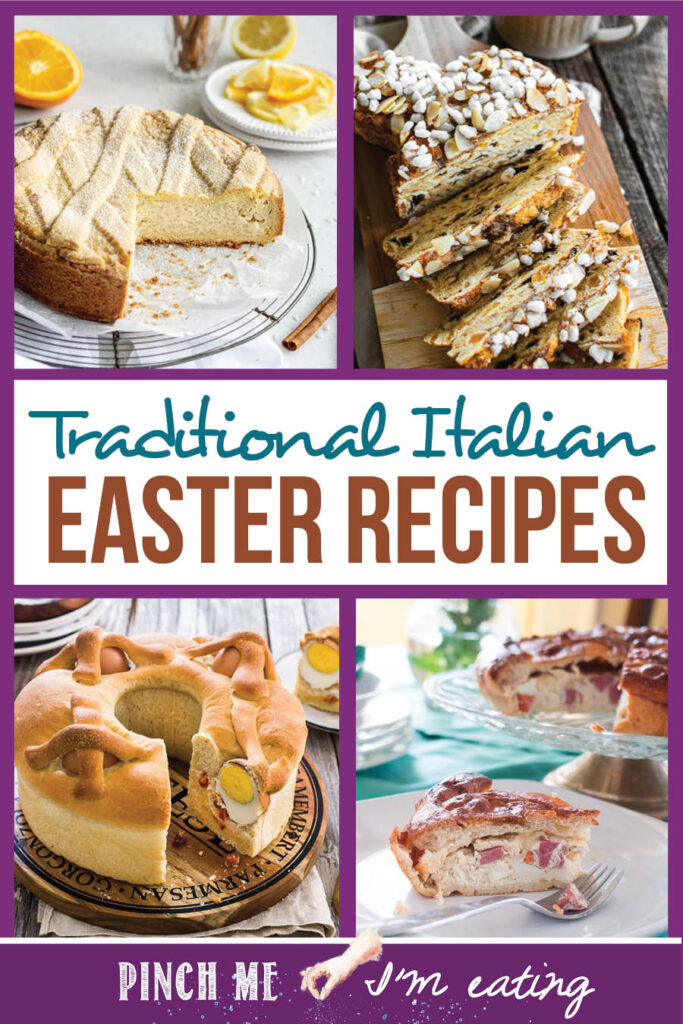 Collage of traditional Italian Easter recipes, including pizza rustica, Colomba Pasquale (Easter Dove Bread), Casatiello (stuffed Easter bread), and Pastiera di Riso (Easter Rice pie)