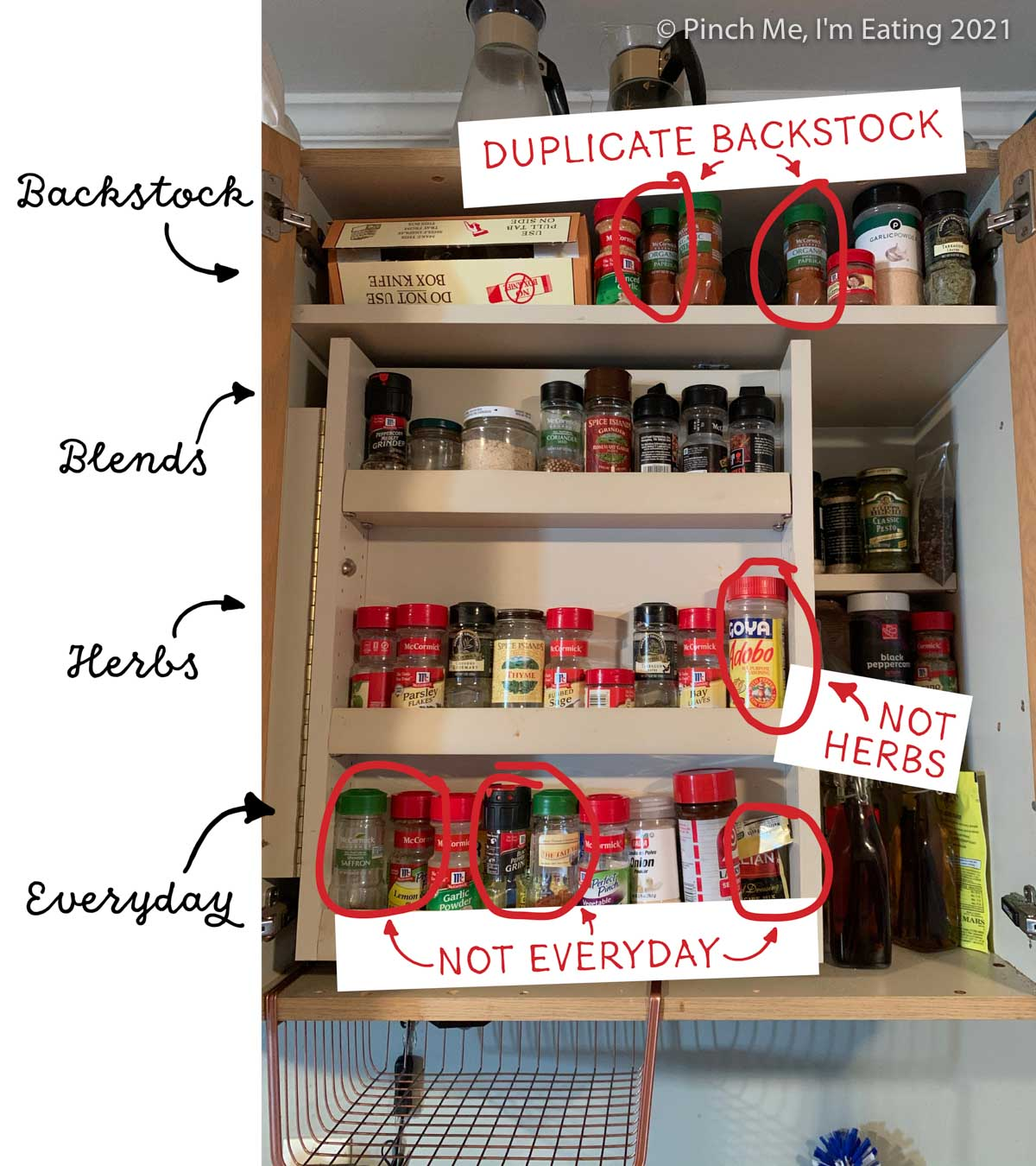 Cabinet with swinging spice shelf insert - labeled with flaws in organization
